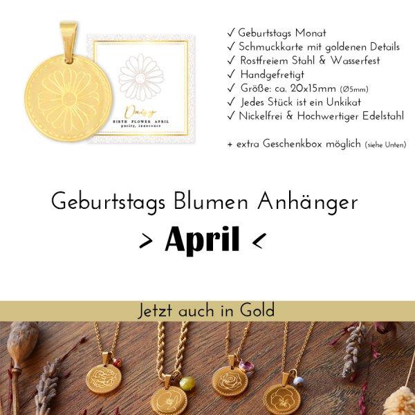 Birth Flower April - Gänseblümchen in Gold