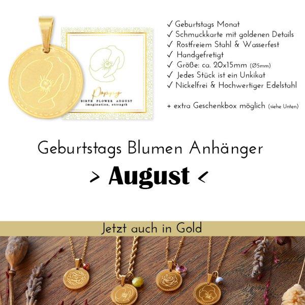 Birth Flower August - Mohnblume in Gold