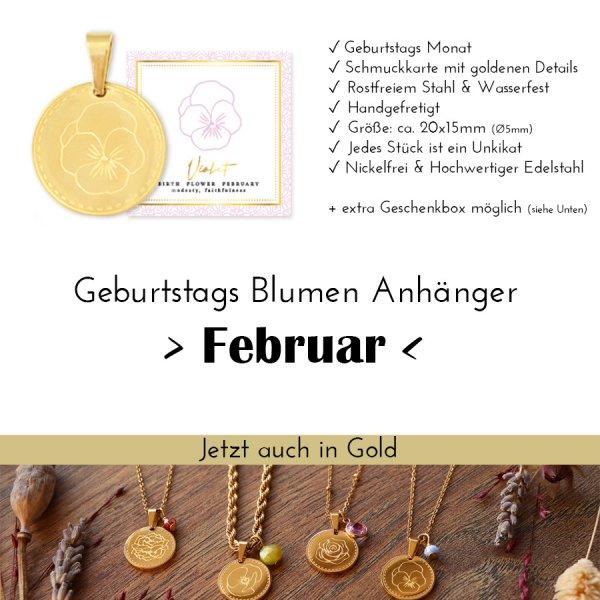 Birth Flower Februar - Violet in Gold