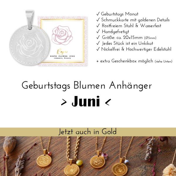 Birth Flower Juni - Rose in Silber