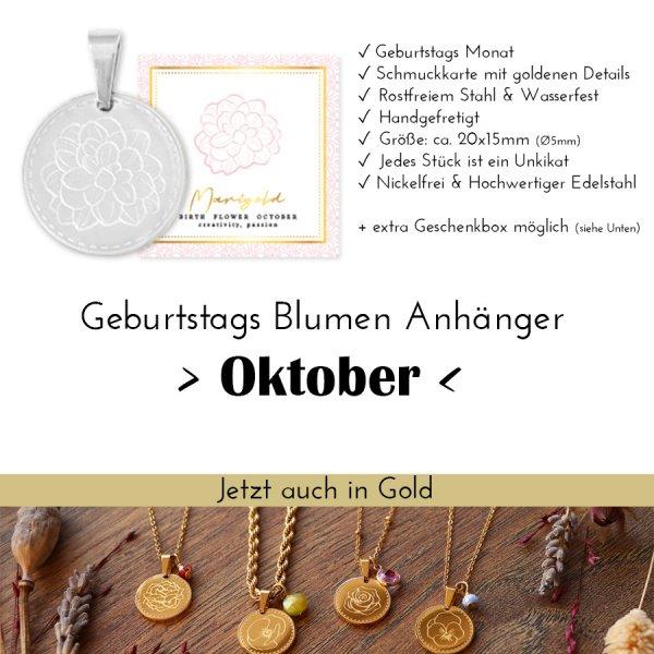 Birth Flower Oktober- Studentenblume in Silber oder Gold