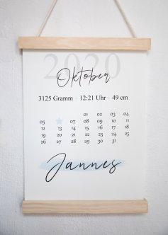 Geburtsmonat Kalender- Geburtsposter