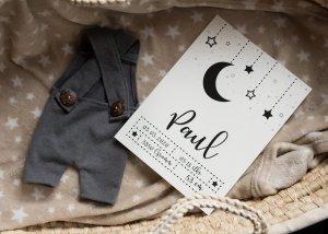 Mond & Sterne - Poster für die Geburt