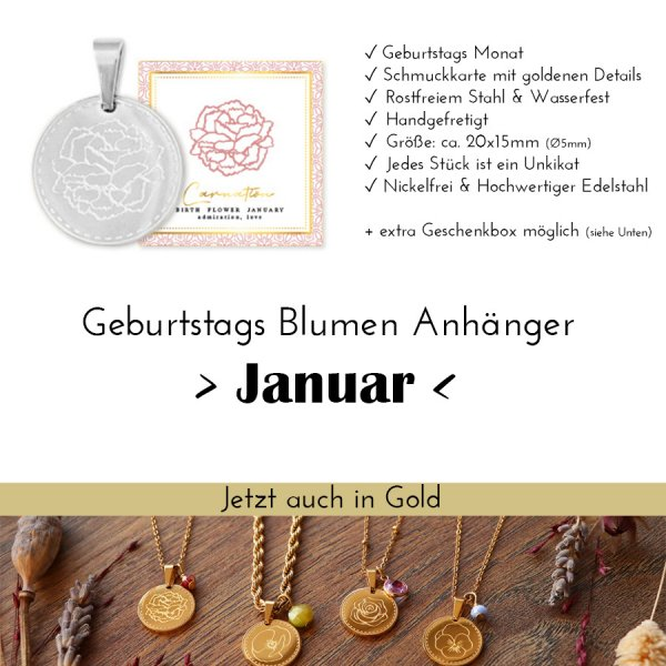 Birth Flower Januar - Nelke in Silber