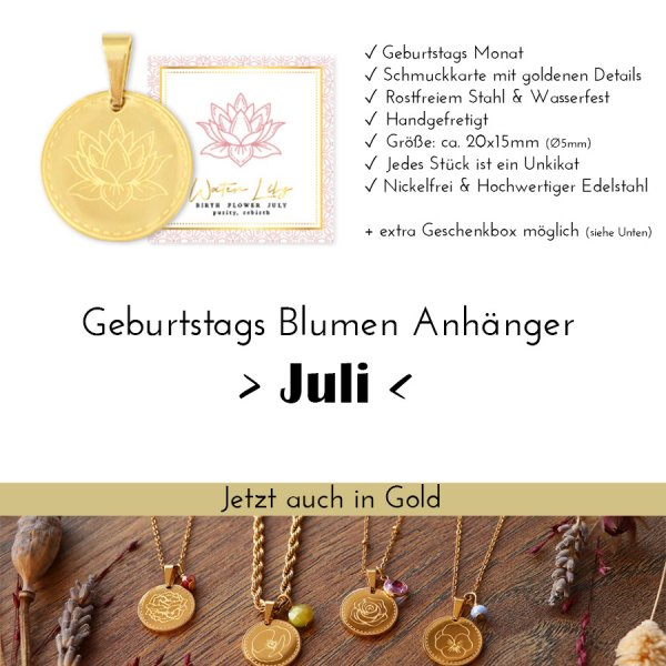 Birth Flower Juli - Seerose in Gold