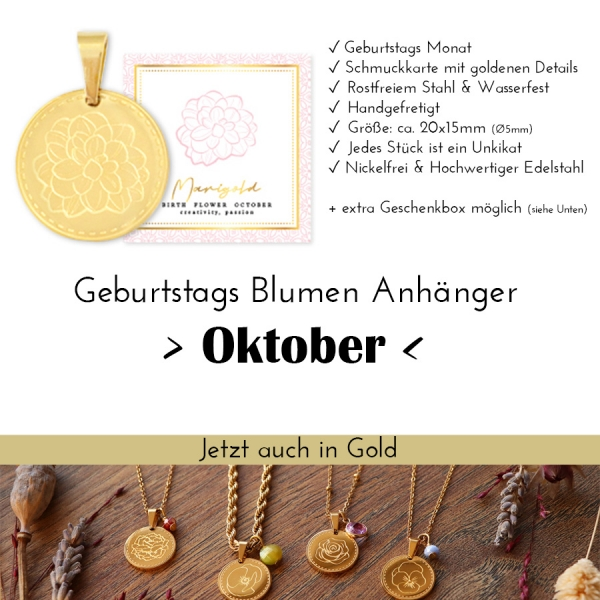 Birth Flower Oktober- Studentenblume in Silber oder Gold